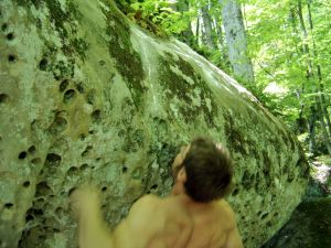 tissue hucking a lap on Big Money Long (7A) in the sandy spring boulder field of Morehead, Kentucky